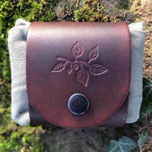 Beech Leaf Tooled Leather Belt Bag